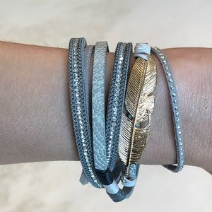 Grey wrap bracelet w/ Gold accents